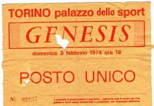 Biglietto del concerto dei Genesis, Torino 3 febbraio 1974